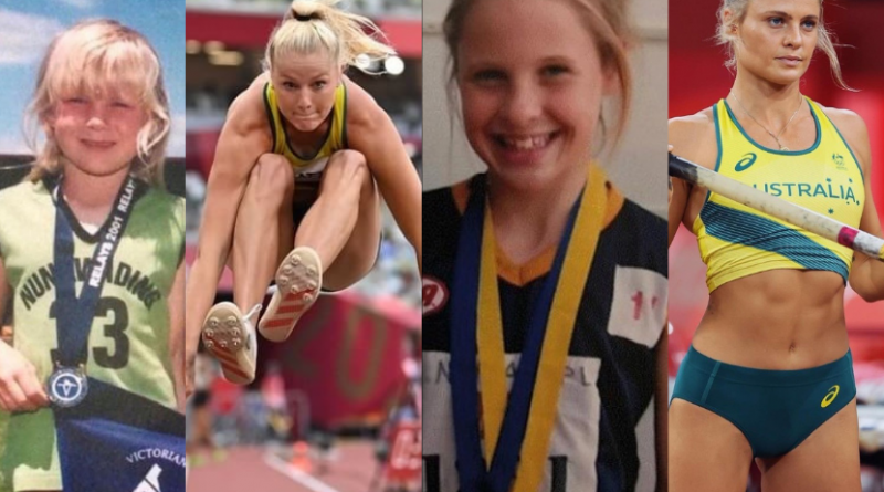 Image of two girls competing at Little Athletics and then for Australia at the Tokyo Olympics